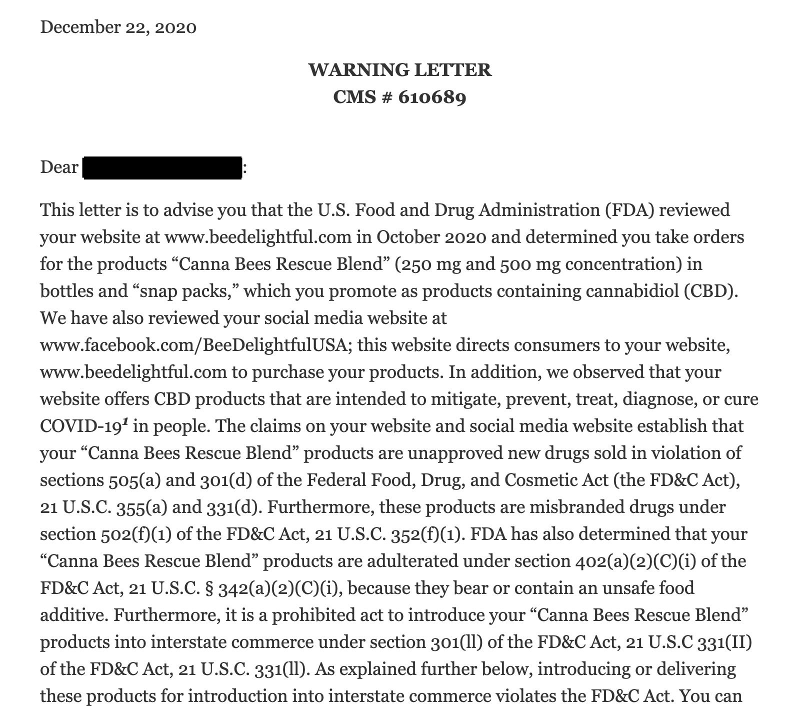 Example of FDA Advertising Warning Letter
